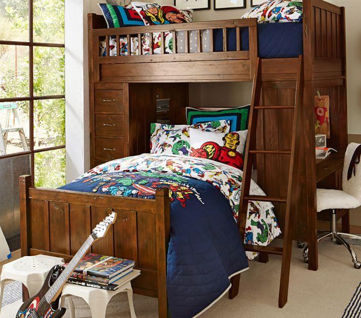 Camp Twin Loft System Amp Lower Bed Set Marvel Bedroom