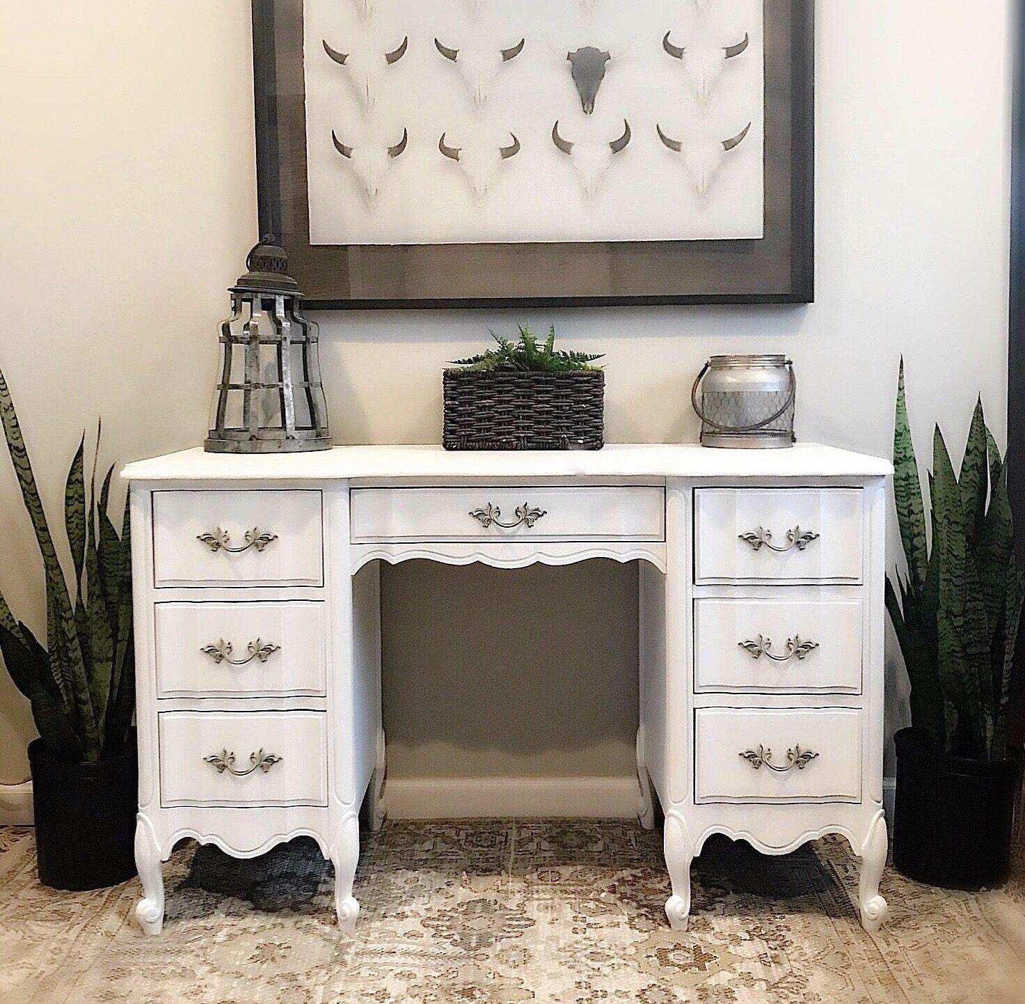 Beautiful White French Provincial Vanity W Chair Rustic Vanity Shabby Vanity Vintage Bedroom Rustic Painted Furniture Romantic Furniture Rustic Furniture