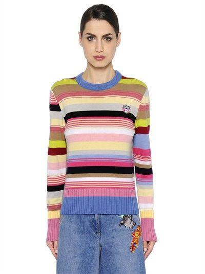 562334cd KENZO Striped Cotton Blend Knit Sweater, Multicolor. #kenzo #cloth #knitwear