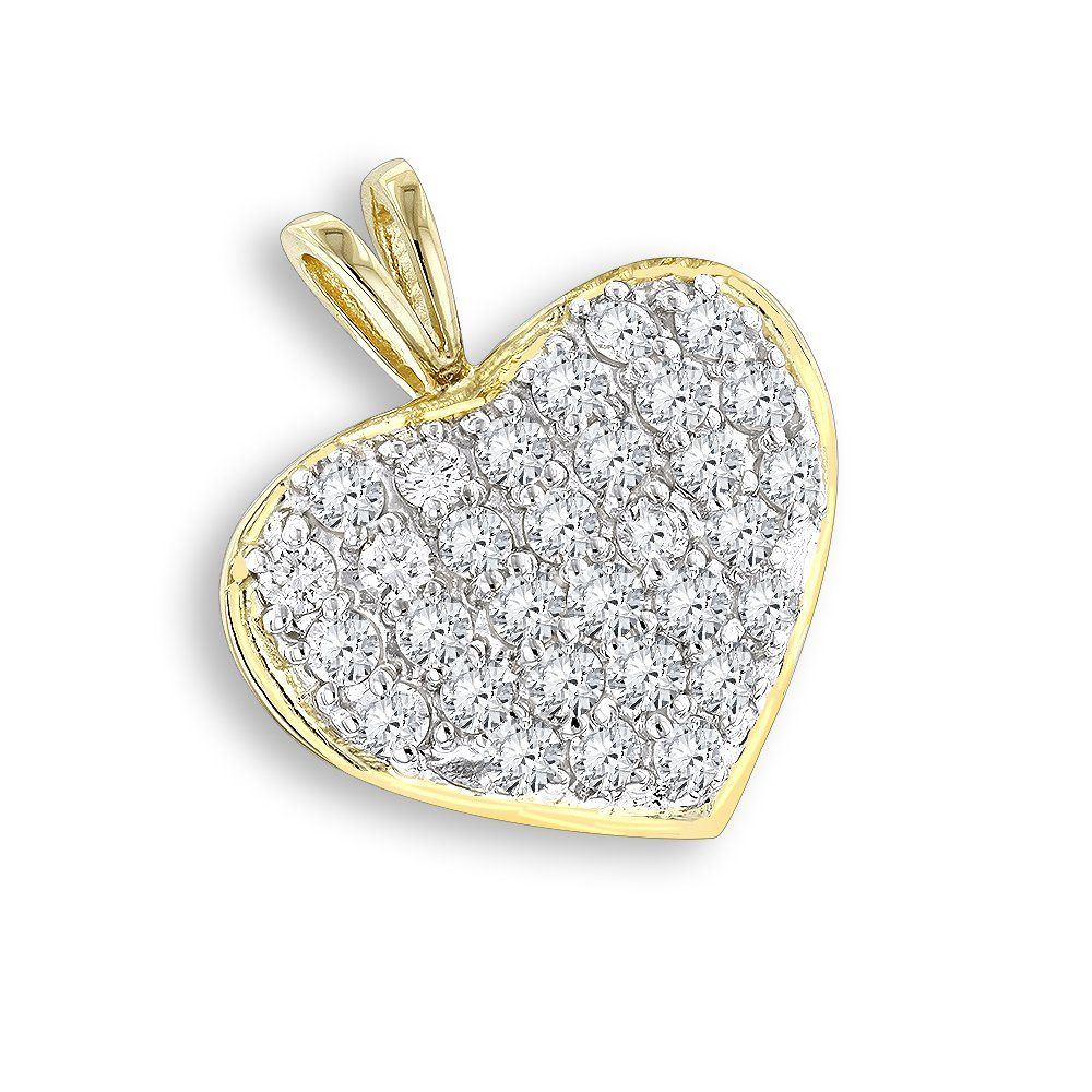 14k gold 1 carat diamond heart pendant by luxurman diamond heart 14k gold 1 carat diamond heart pendant by luxurman mozeypictures Choice Image