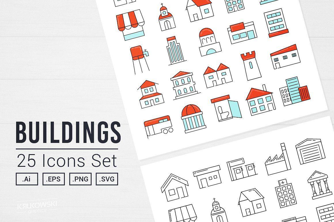 Buildings Vector Icon Set Icon set vector, Icon set