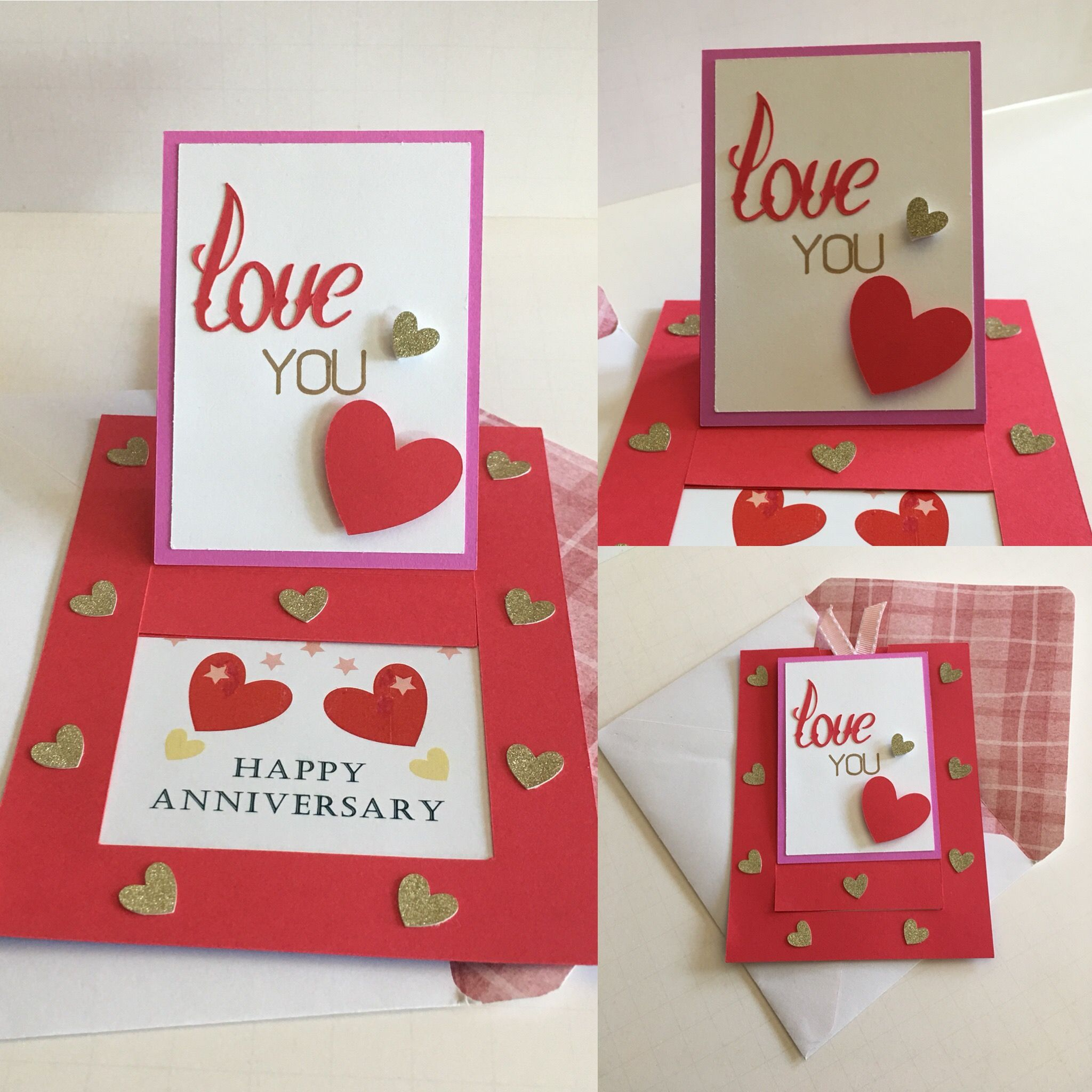Love You Hearts Slide Up Special Message Anniversary Card For