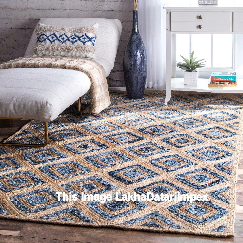 Rug Natural Denim Jute Rectangle Braided Floor Mat Handmade Reversible Area Rugs