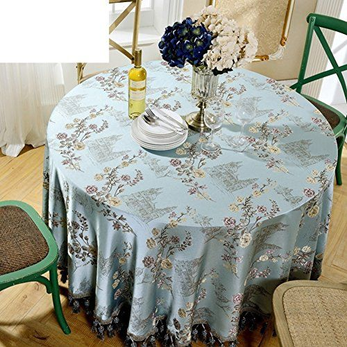 European Style Big Round Table Cloth Fabric Round Home Tablecloth