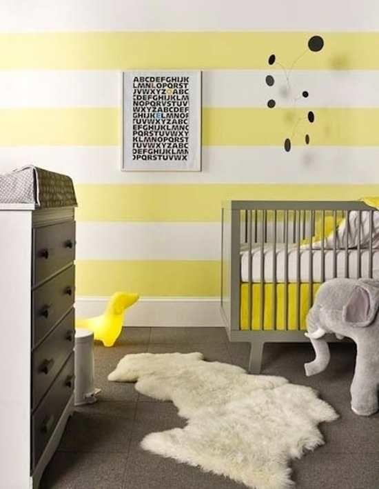 papel pintado de rayas horizontales para decorar la habitación del bebe