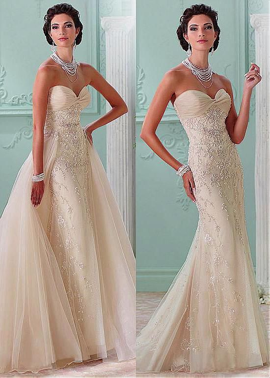 Fabulous Tulle & Organza Sweetheart Neckline 2 in 1 Wedding Dresses ...