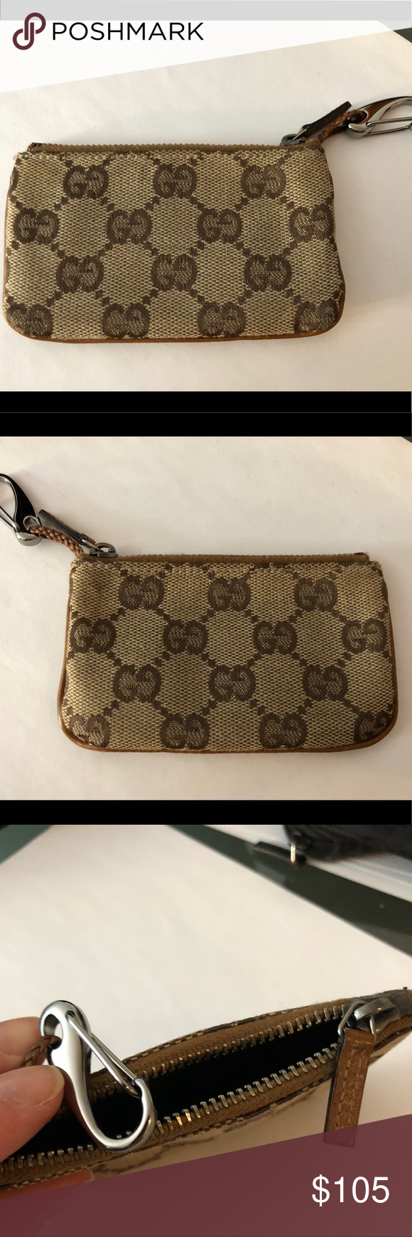 5460d55379b Gucci keychain wallet Authentic Gucci brown canvas logo keychain wallet.  Silver keychain. Perfect condition. Gucci Accessories Key   Card Holders
