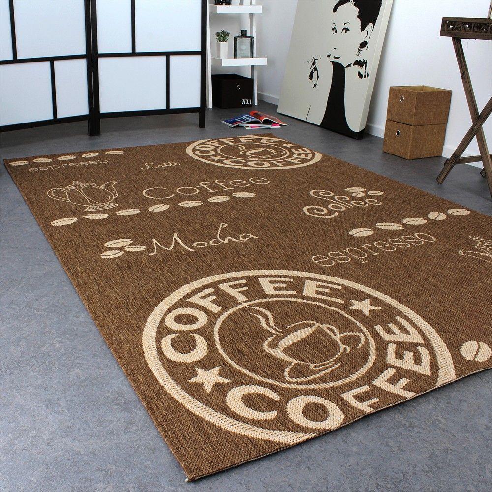 Teppich Modern Flachgewebe Sisal Optik Küchenteppich Coffee Braun ...