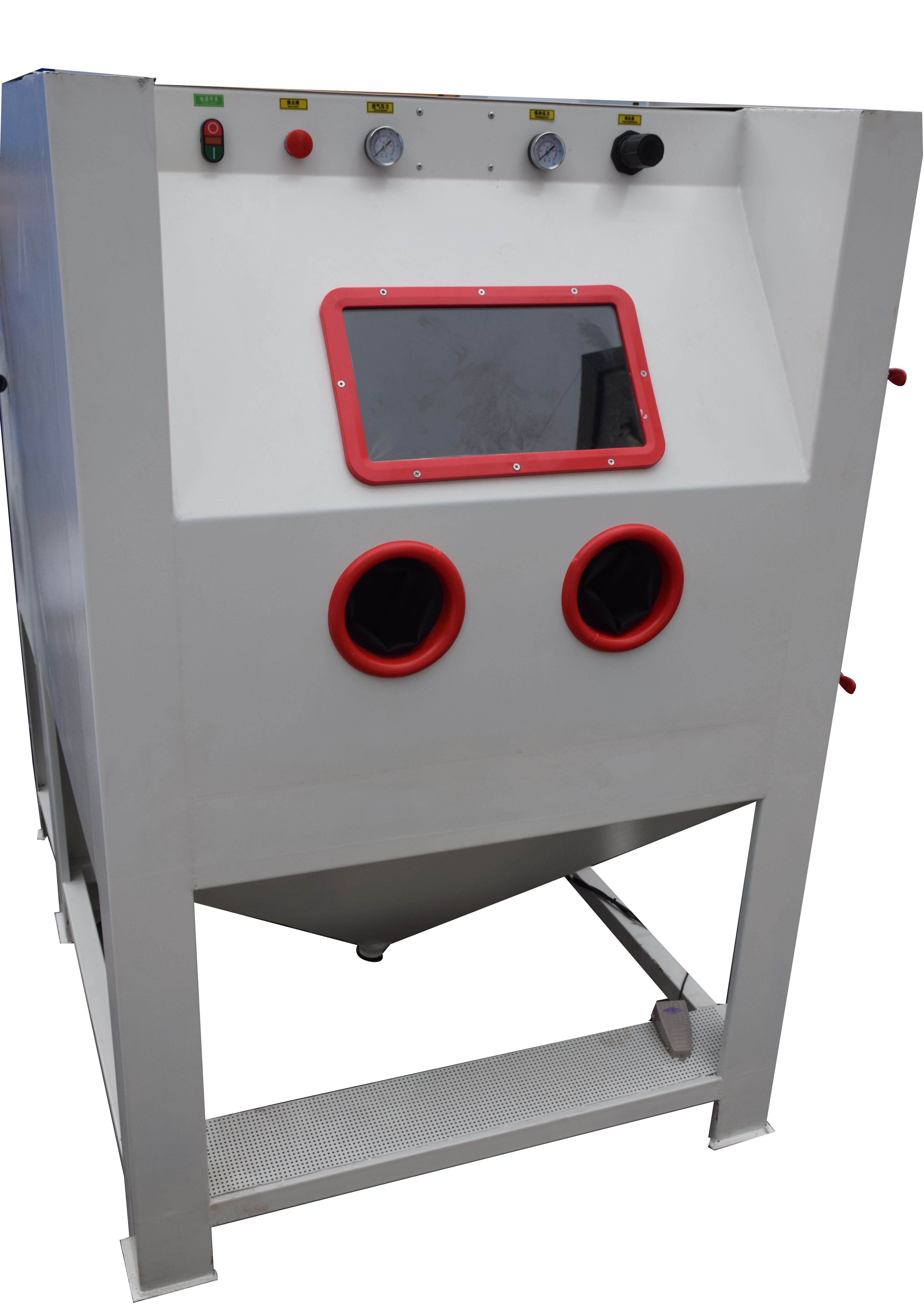 abrasive blast cabinet can use all kinds of medias such as aluminum