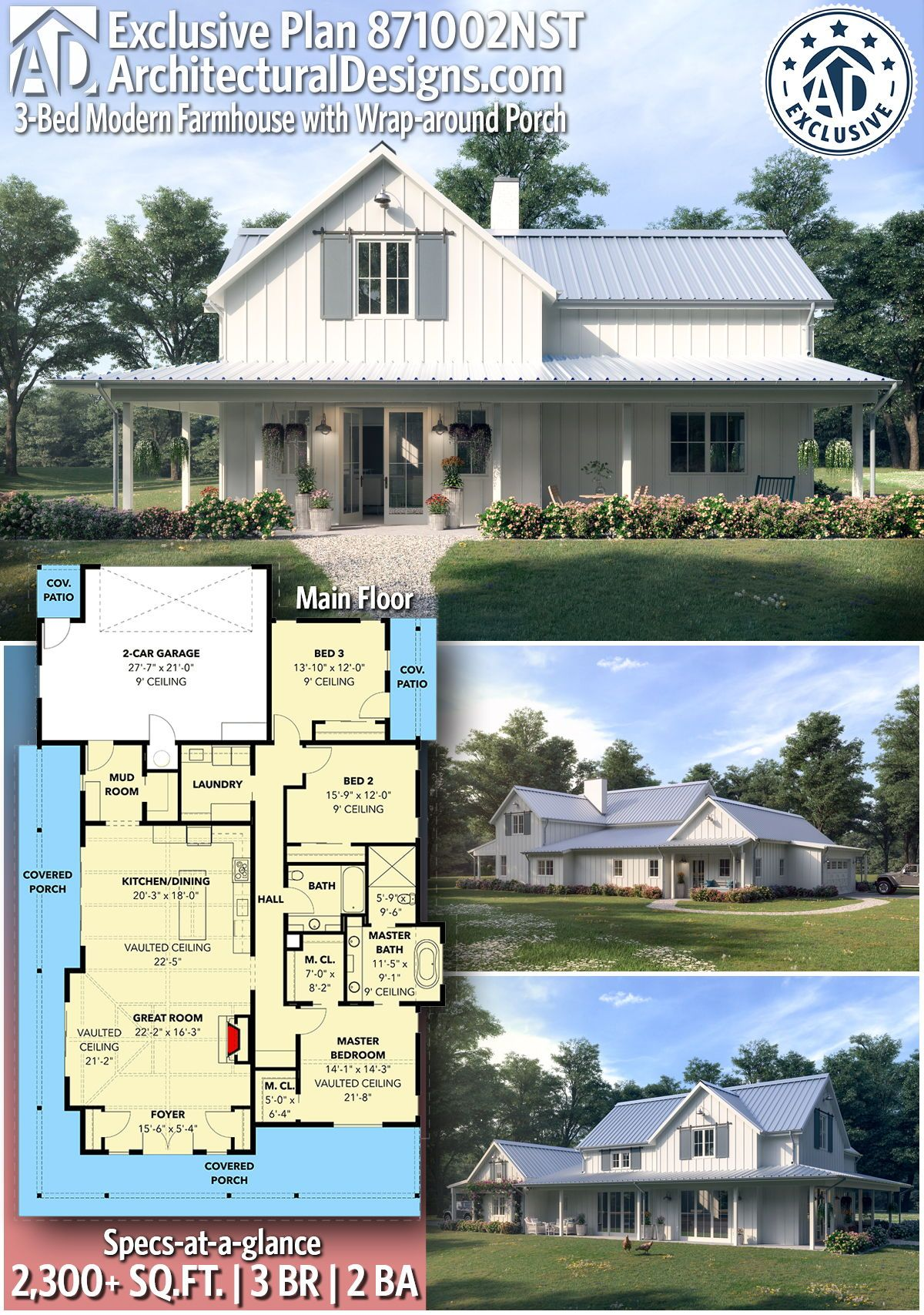Plan 871002nst 3 Bed Modern Farmhouse With Wrap Around Porch Modern Farmhouse Plans House Plans Farmhouse Barn House Plans