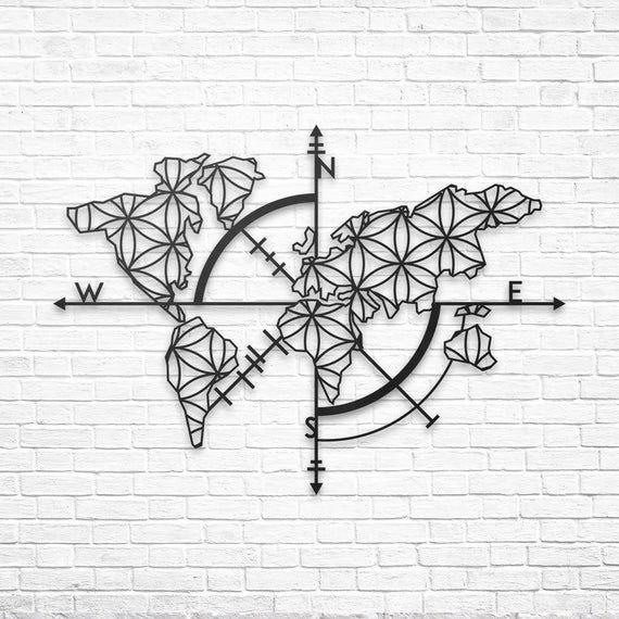 Photo of Metal World Map Wall Art, Metal Wall Decor, Metal Wall Art, Weltkarte, Housewarming Gift, World Map, Carte Du Monde, Metal Wall Sign