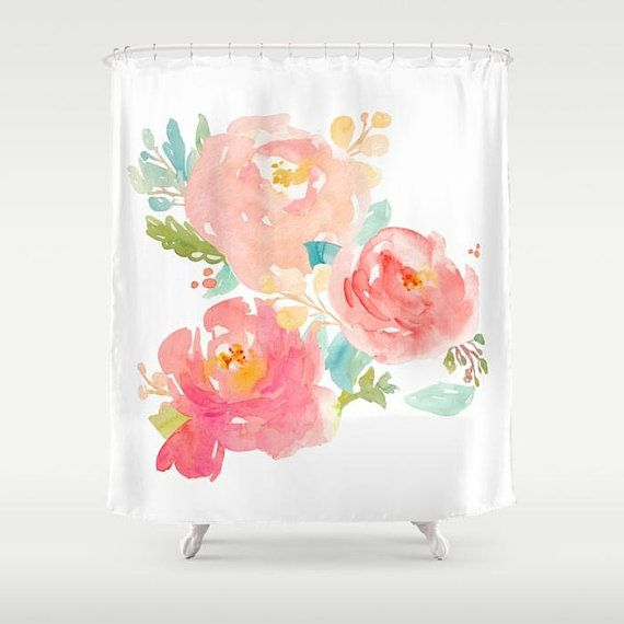 Peony Shower Curtain Pink Floral Peonies Print Art Girls