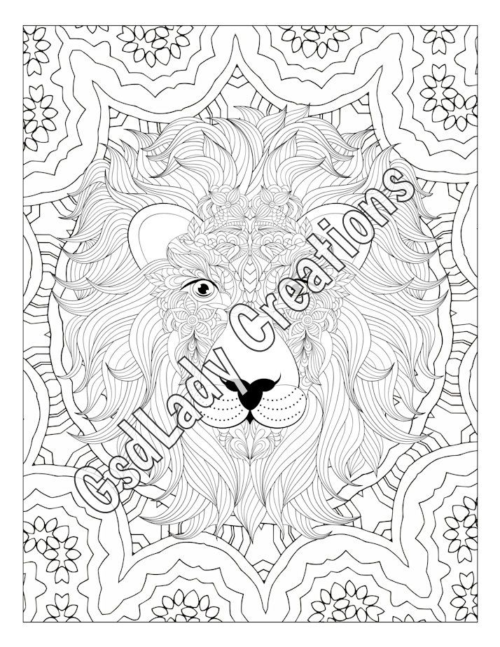 Zen Lion Animal Art Page To Color Zentangle