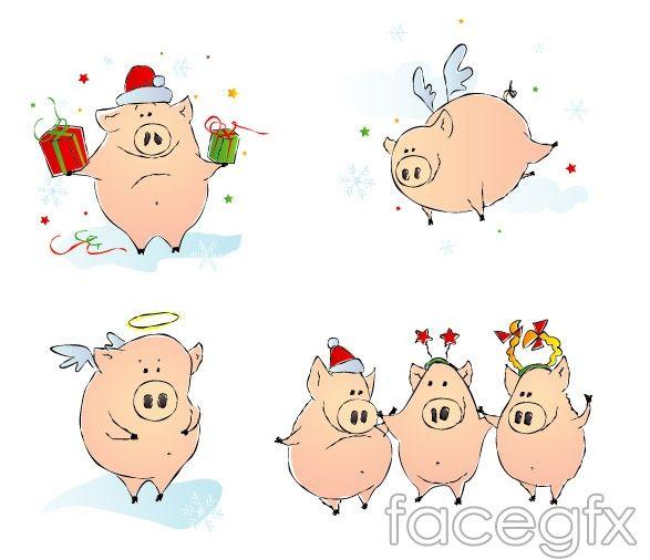 Прикольные рисунки свиньи новый год, смешные смайлики