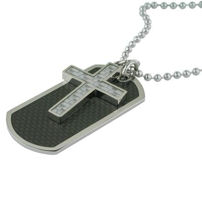 Mens stainless steel cross and dog tag pendant with carbon fiber mens stainless steel cross and dog tag pendant with carbon fiber inlay audiocablefo