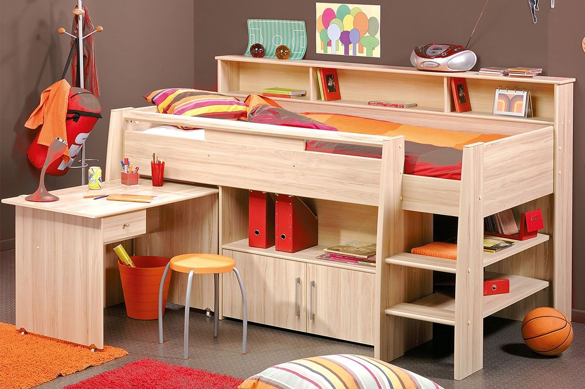lit combin adolescent 90x200 cm couleur h tre alex lit. Black Bedroom Furniture Sets. Home Design Ideas