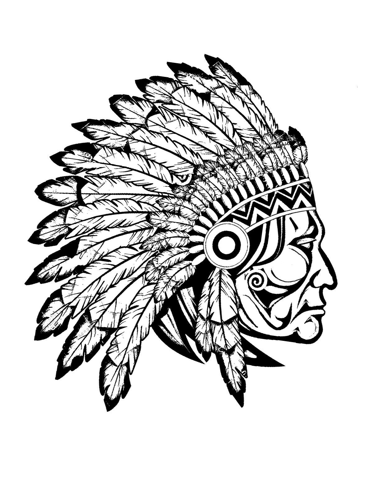 4846899510a88 Free coloring page coloring-adult-indian-native-chief-profile. Profile view  (drawing) of a great Indian chief