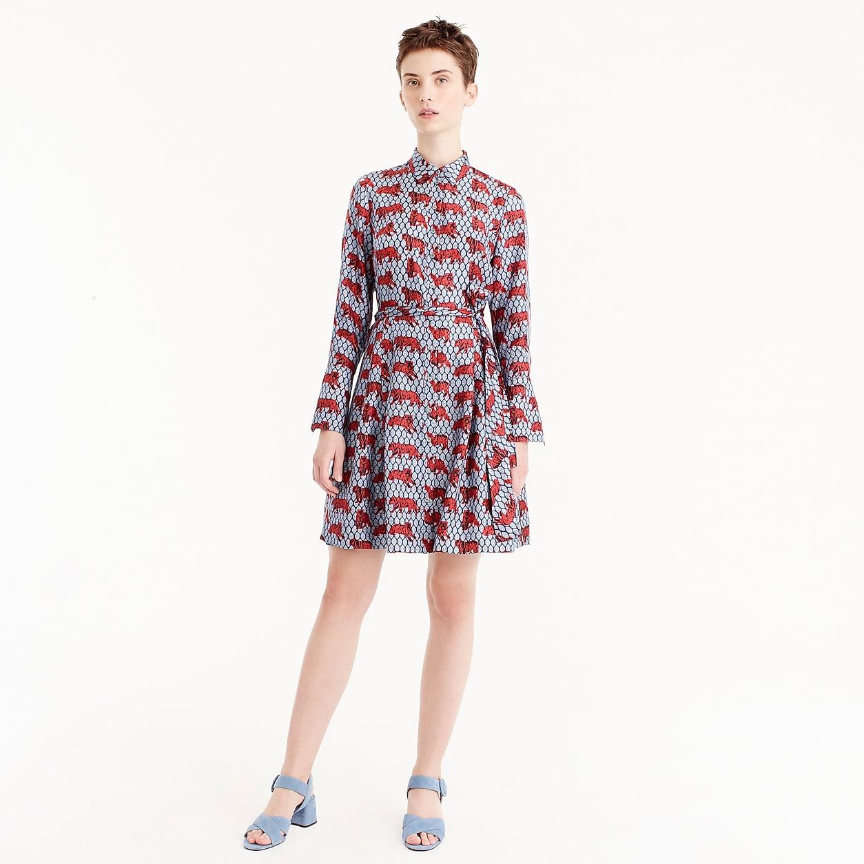 138f4ffe0391d Collection Silk Twill Shirtdress In Roaming Tiger Print