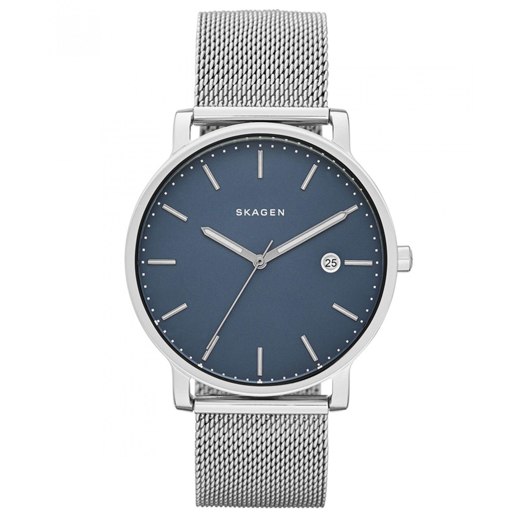 601c48dfc0fb Reloj Skagen con caja bisel y extensible tipo brazalete de acero carátula  en tono azul manecillas