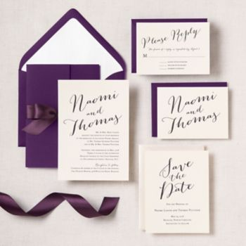 hand script wedding invitation naomi thomas paper source - Paper Source Wedding Invitations
