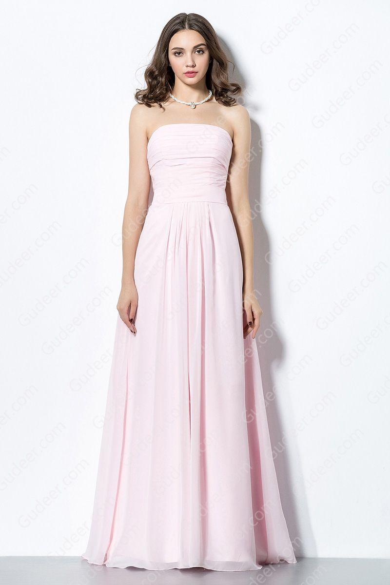 Simple Pink Straight Across Long Chiffon Bridesmaid Dress Gudeer