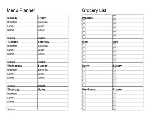 Two-Page Menu Planner with Grocery List | Miscellaneous ...