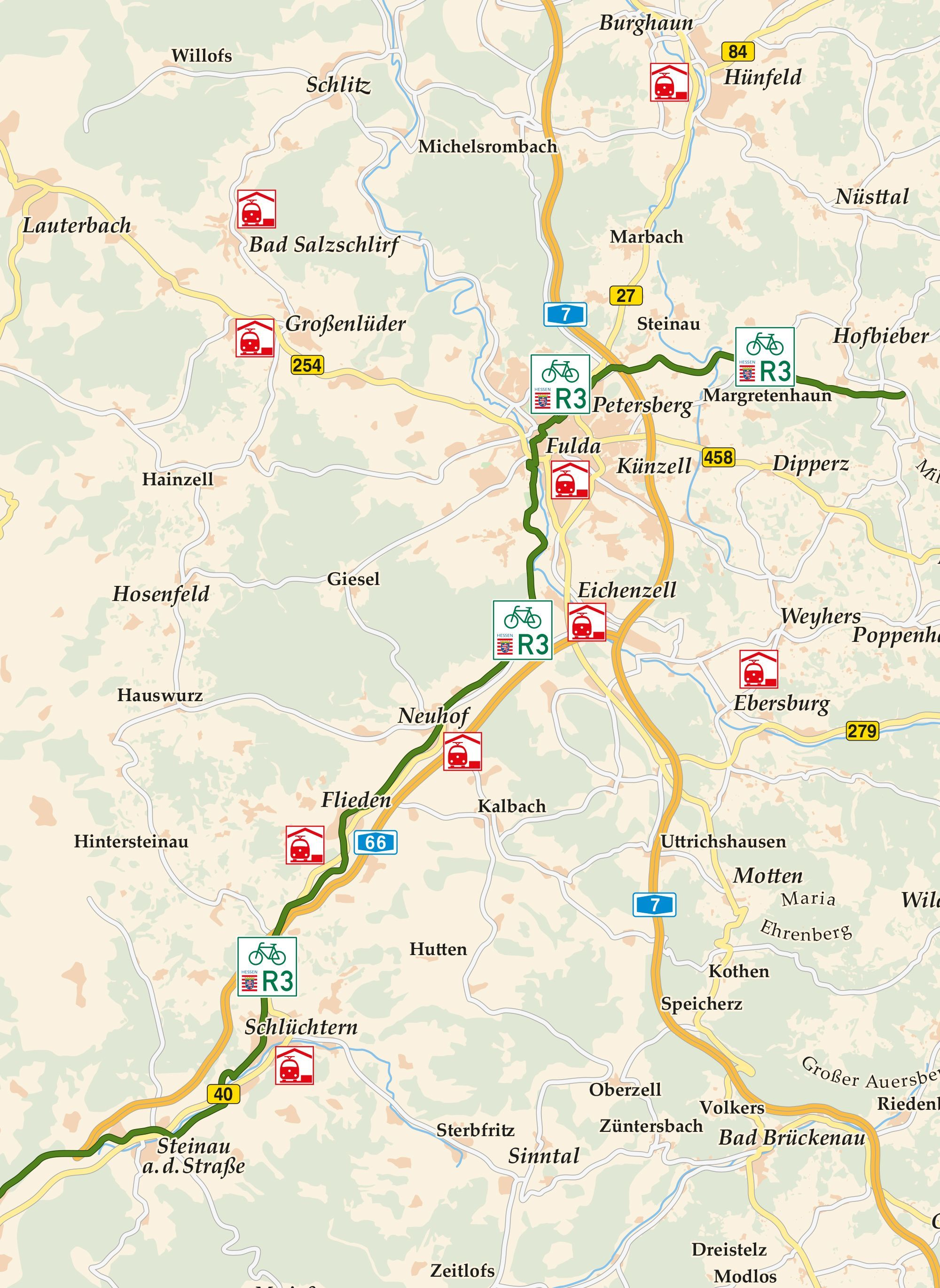 Hessischer Radfernweg R3 Karte Hessisch Rad Fulda