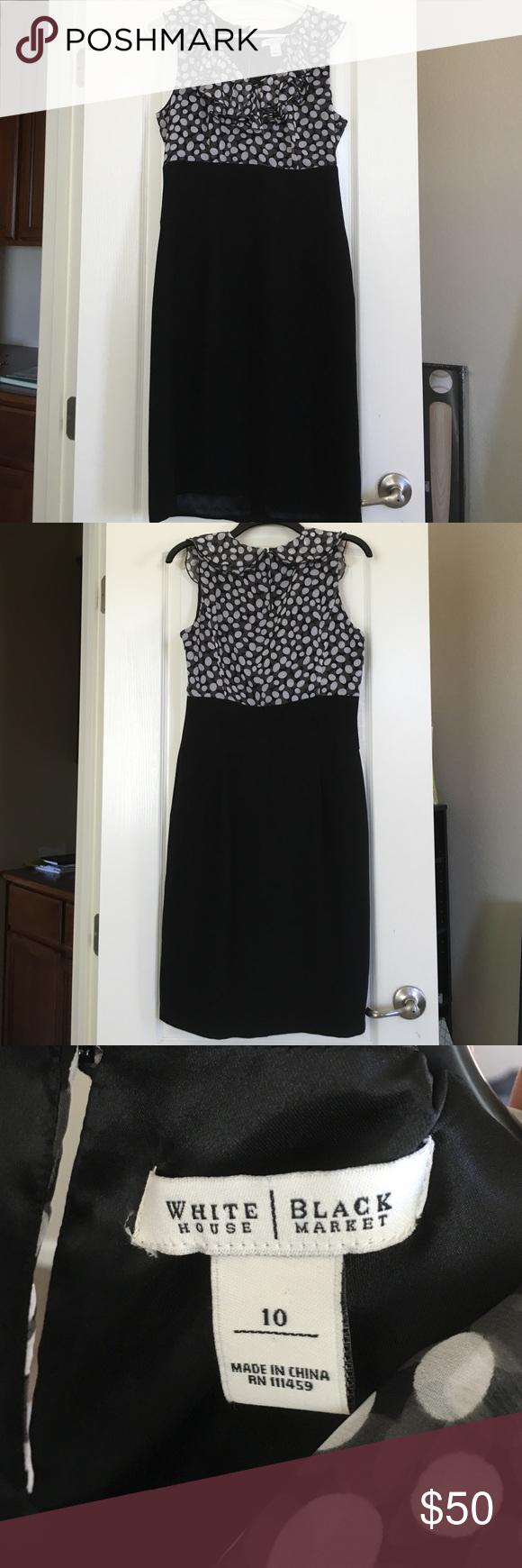 White House Black Market Dress Black and white fitted dress. Knee length, pencil skirt type bottom with a fitted top with ruffles. White House Black Market Dresses Midi