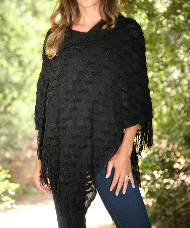 Another great find on #zulily! Black Chevron Knit Poncho #zulilyfinds