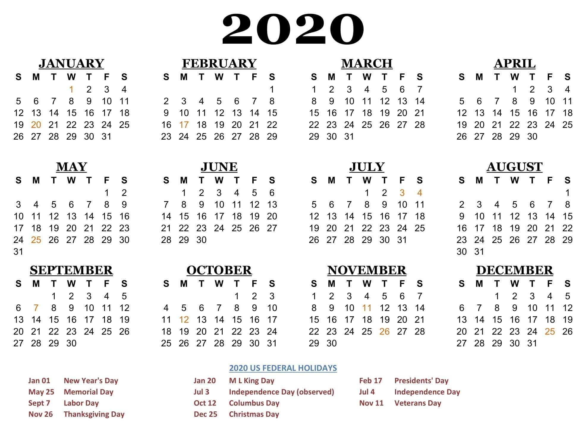 2020 One Page Calendar Printable Download Calendar Printables