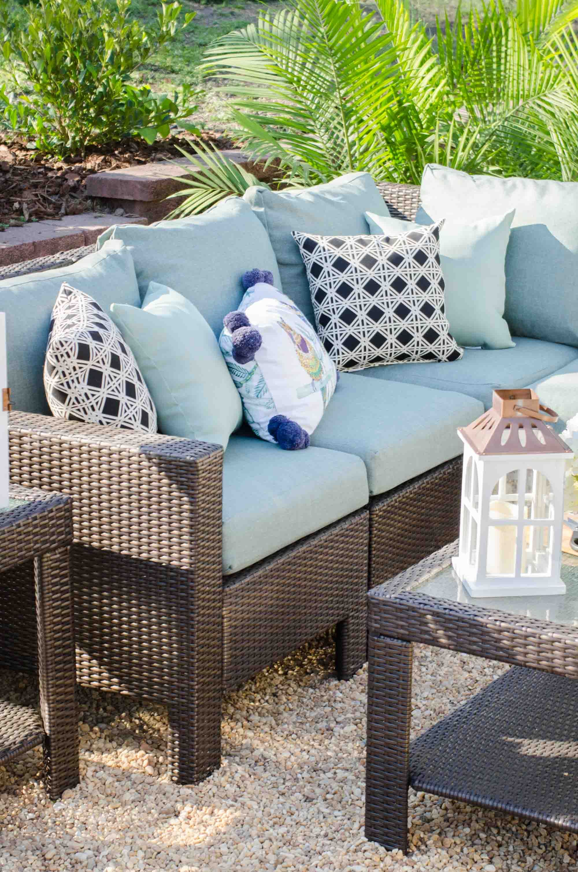 Gravel patio makeover with home depot patio style challenge