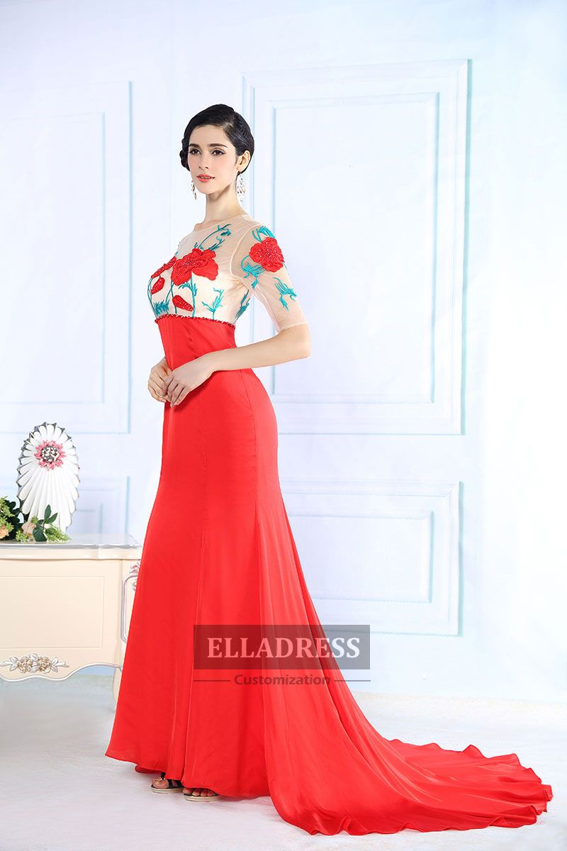 Red Modern One shoulder Cathedral Lace Prom Dress-199