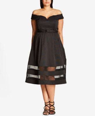 7e056420e07 City Chic Trendy Plus Size Off-The-Shoulder A-Line Dress