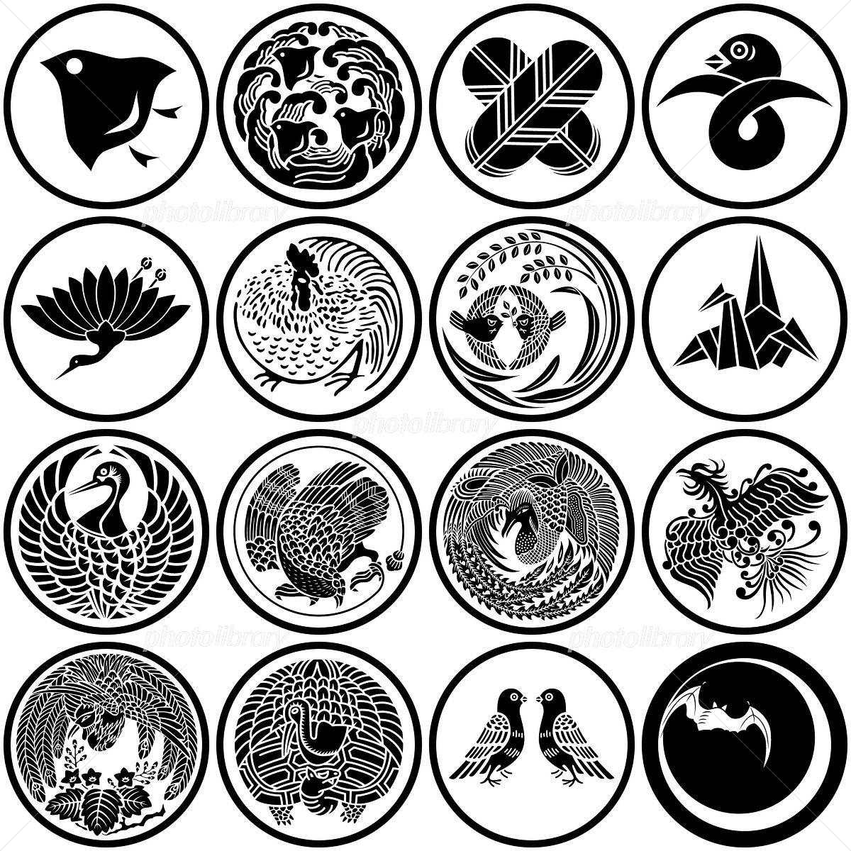 鳥 和風マーク 紋章 家紋 家紋 紋章 和 デザイン