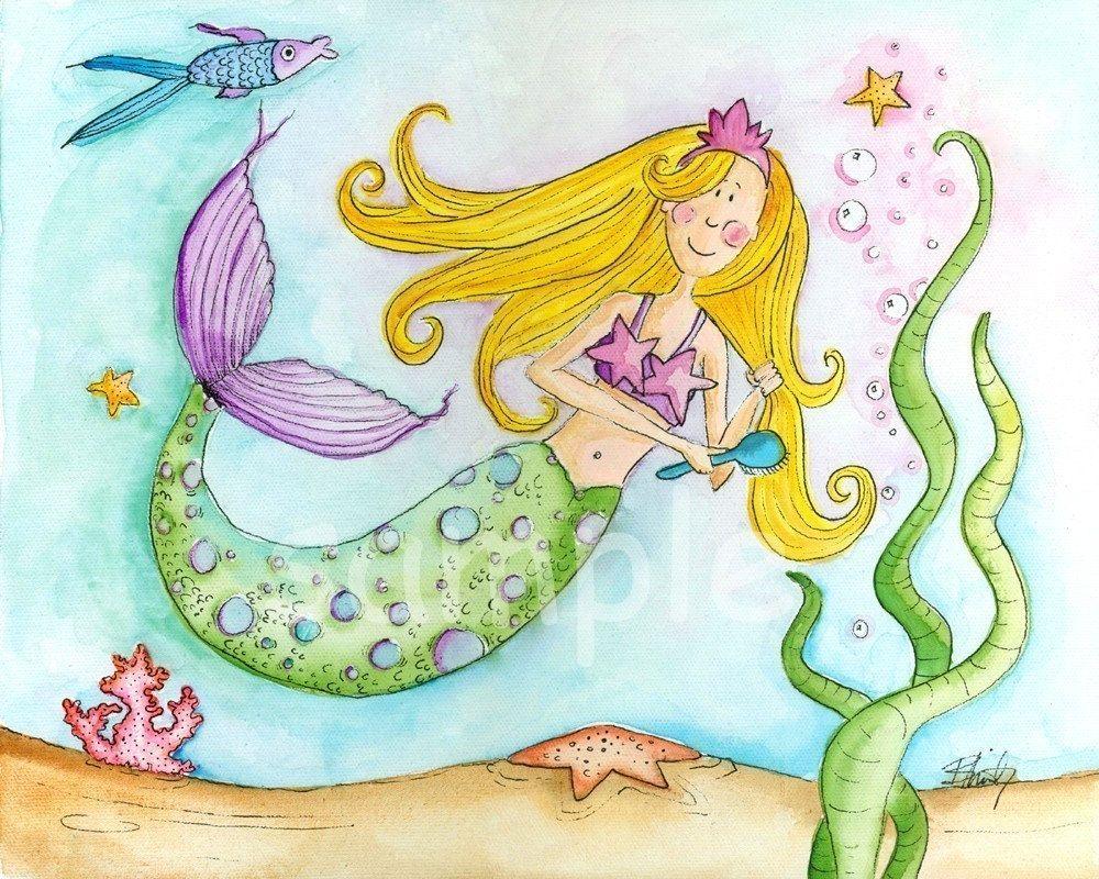 Kids wall art - Mara Mermaid 8x10 print. Etsy. | Cool Things I Don\'t ...