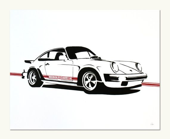Classic Car Print Porsche 911SC white by ManualDesigns on