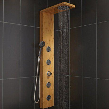 Colonne de douche hydromassante avec robinetterie aspect bois