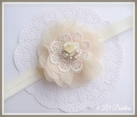 """"""" Hazel """"  A sweet soft elastic headband with a deep ivory crinkle chiffon rosette.   The rosette features a beautifully vintage styled embroidered doily, with handsewn pearls and ivory rosette.  This headband is professionally hand sewn to your size requirements.   If you would prefer this floral embellishment can be created with a plain ivory satin alice style headband for $1.00 more.  Find Hazel Here :http://4lildarlins.com/catalog.php?item=663"""