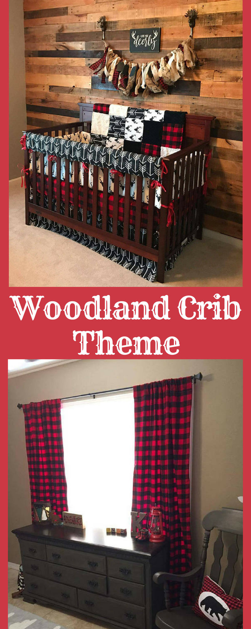 I love this for a baby boy's room! Black antler/woodland theme is very popular right now! What a great set this is. #ad #babyboy #woodlandtheme #lumberjack #blackantler #buffalocheck #cribbedding #babyroomdecor