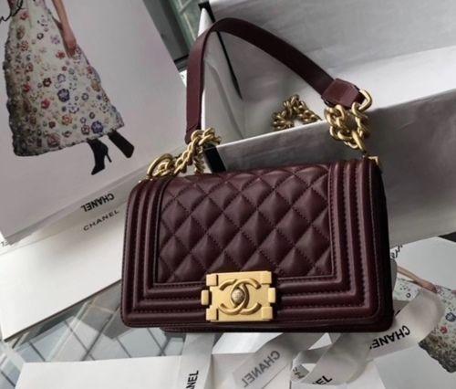 a186d108d42d Chanel Small BOY CHANEL Handbag Bordeaux with gold-tone hardware #handbags  #fashion #