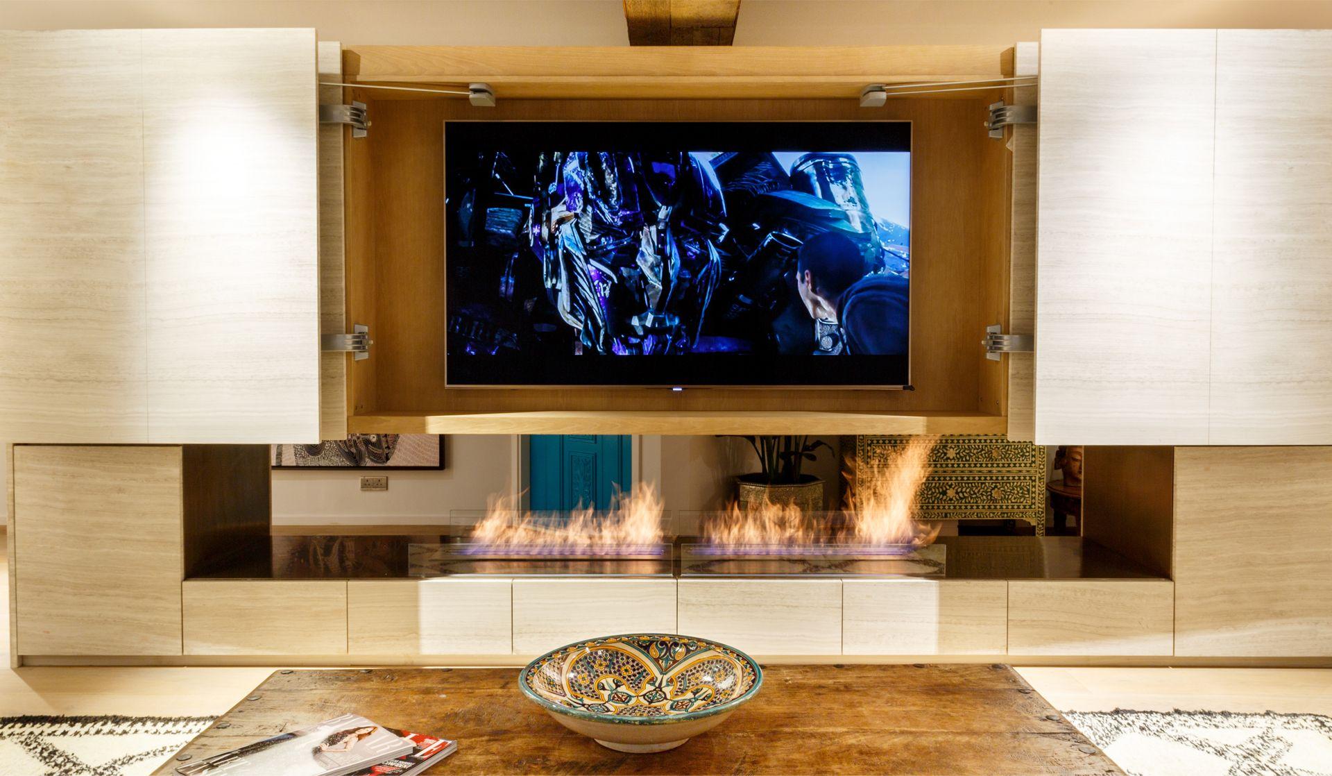tv hidden behind | liquid project : moss art restaurant design