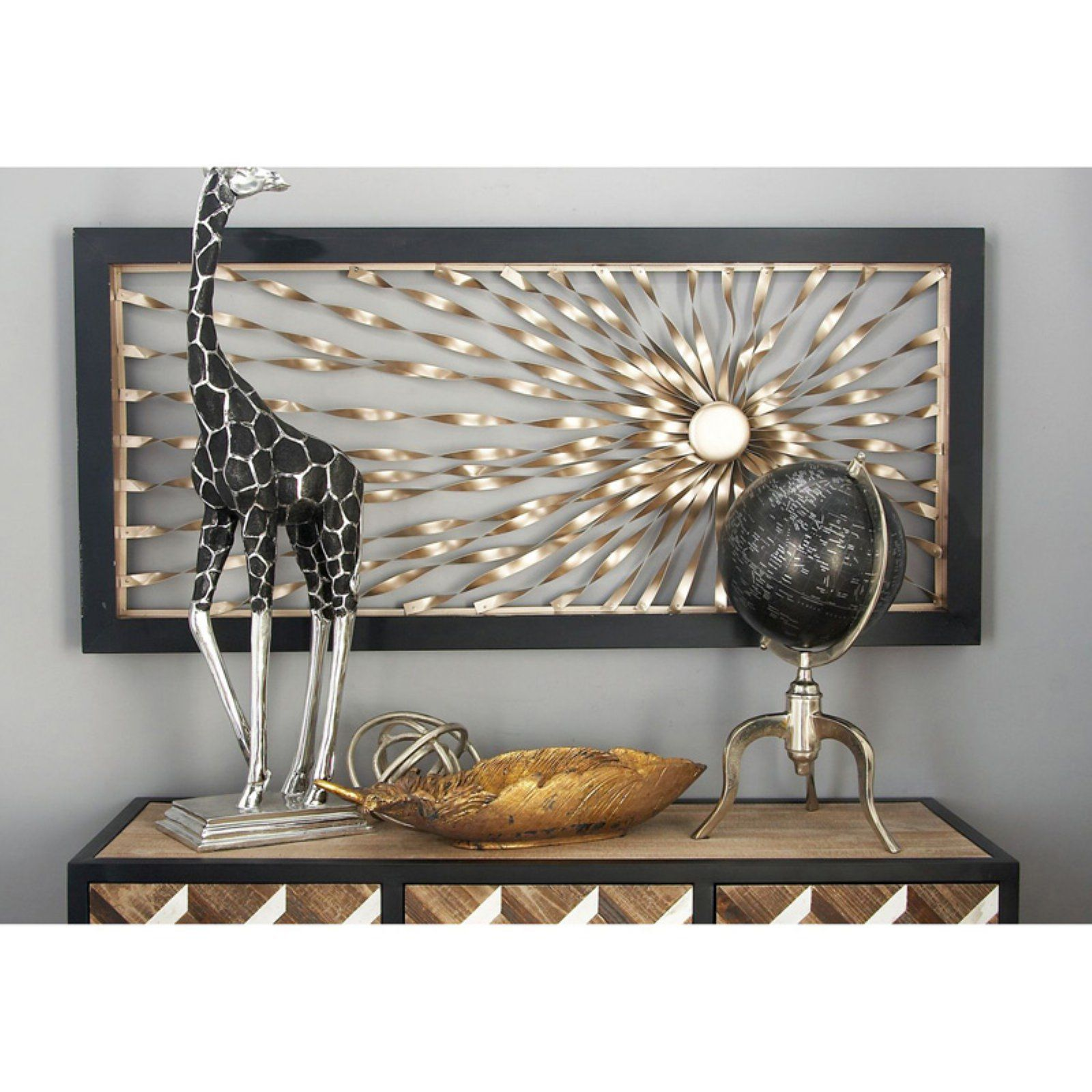 Decmode Framed Metal Ribbon Wall Sculpture Products In