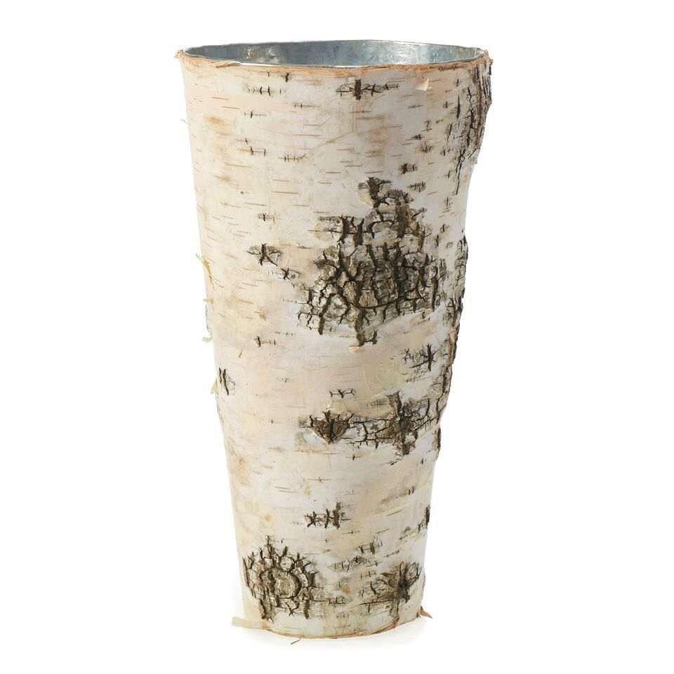 This naturally adorable vase is the perfect addition to any event. Birch outside with a waterproof zinc interior, both beautiful and durable. Great centerpiece or aisle liner. Measures 4.75 inches wid