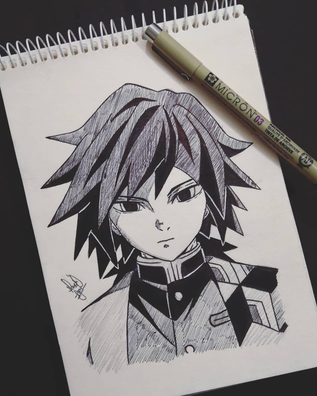 "Photo of Anime/Manga Art on Instagram: ""Giyuu Tomioka inked?  Hope u all like it and keep supporting ❤? . . For more sketches follow me @animaniac_sketch . . . . . . #giyuutomioka…"""