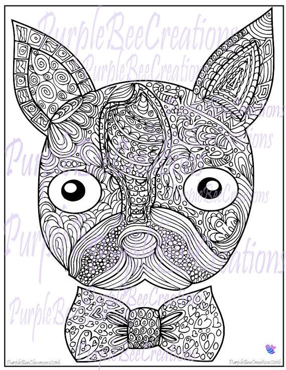 boston terrier dog coloring page by purplebeecreations on etsy - Boston Terrier Coloring Page