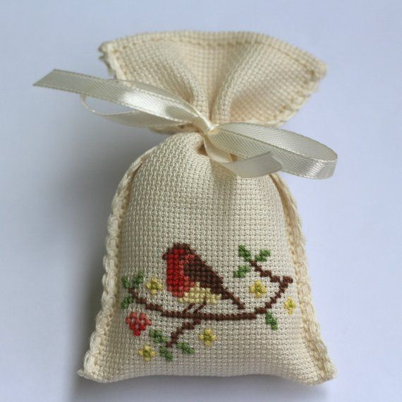 Lavender Scented Sachets, Scented Bags, Bird Motif Favors Sachets, Cross Stitch Favor Sachet, Cross #insects
