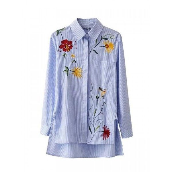 Blue stripes embroidery floral polo collar shirt sleeve for Embroidered polo shirts cheap