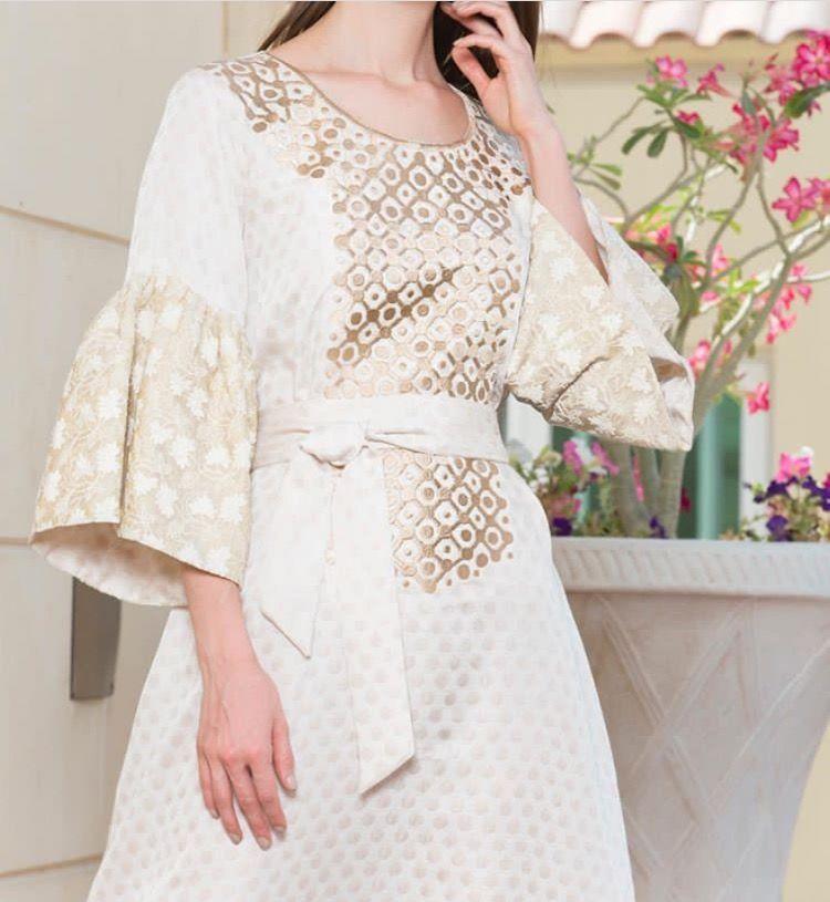 White And Gold Jalabiyya Hijab Fashion Summer Fashion Dresses Fashion