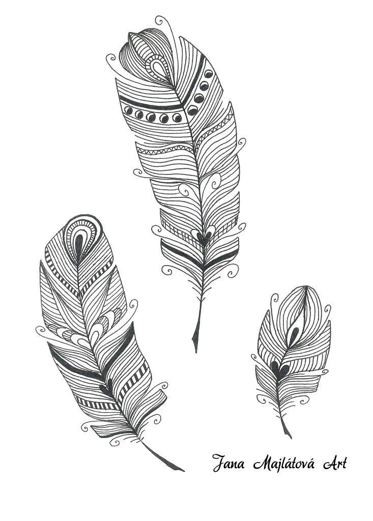 Feathers by Jana Majlátová Art drawing, zentagle