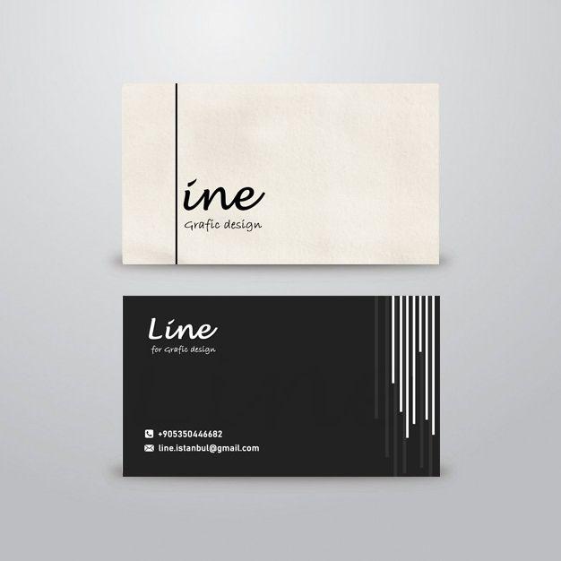 Carte De Visite BUSINESS CARD DESIGN LINE SIMPLE BLACK Black Card Business